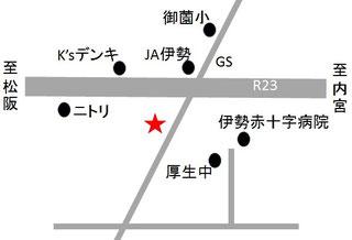 三重県伊勢市の進学塾「勢進塾」の地図